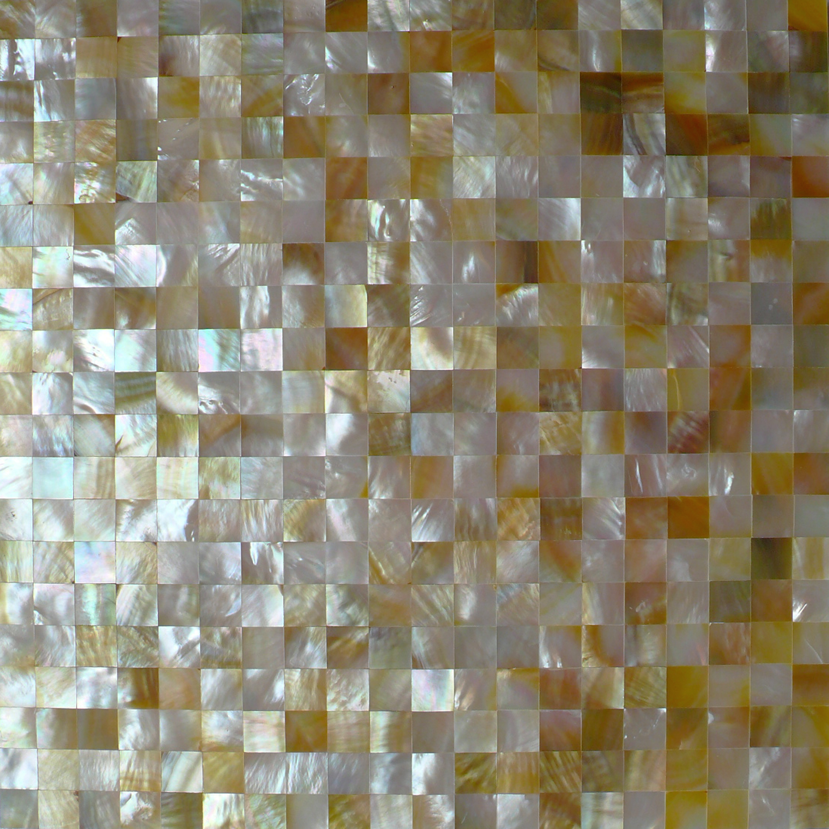 "Gold Mother of Pearl Squares Seamless Shell Mosaic Tile 15mm, 11.8x11.8"", 1 tile"