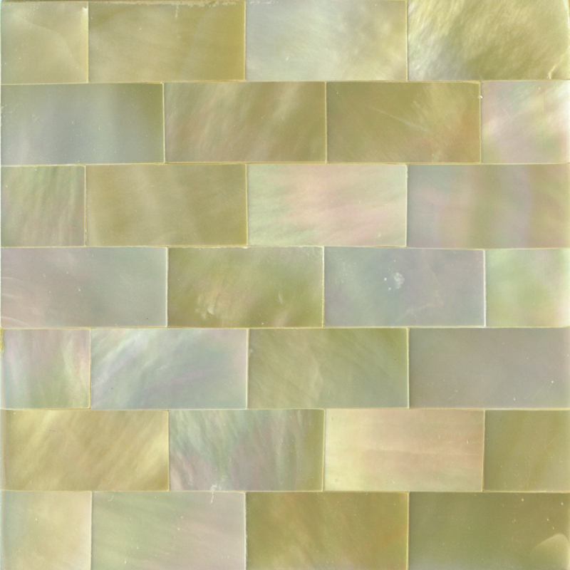"Gold Mother of Pearl Brick Shell Tile, 2x2"", 1 Tile"