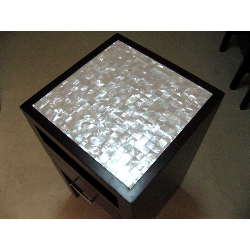White Mother of Pearl Custom Bedroom Nightstand