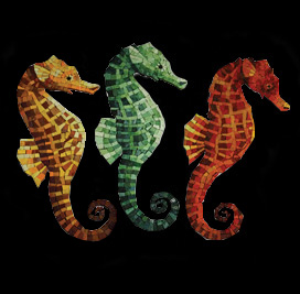 "Seahorse Byzantine Glass Swimming Pool Mural 11"", Yellow, Green or Red"