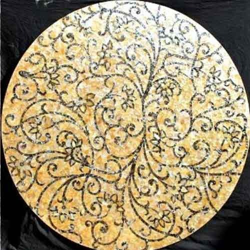 "Gold & Black Mother of Pearl Floral Tabletop 72"", 1 piece"
