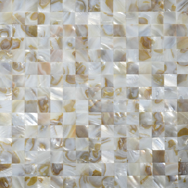 "River Shell Natural Dappled Squares 15mm Seamless Shell Mosaic Tile 11.8x11.8"", 1 tile"