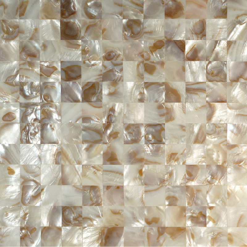"River Shell Natural Dappled Squares 25mm Seamless Shell Mosaic Tile 11.8x11.8"", 1 tile"