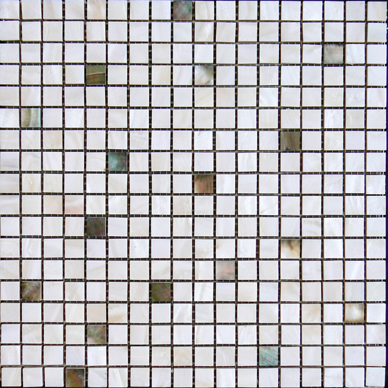 "Black Mother of Pearl & White River Mix Shell Mosaic Sheet 15mm - 1/2"", 1 tile"