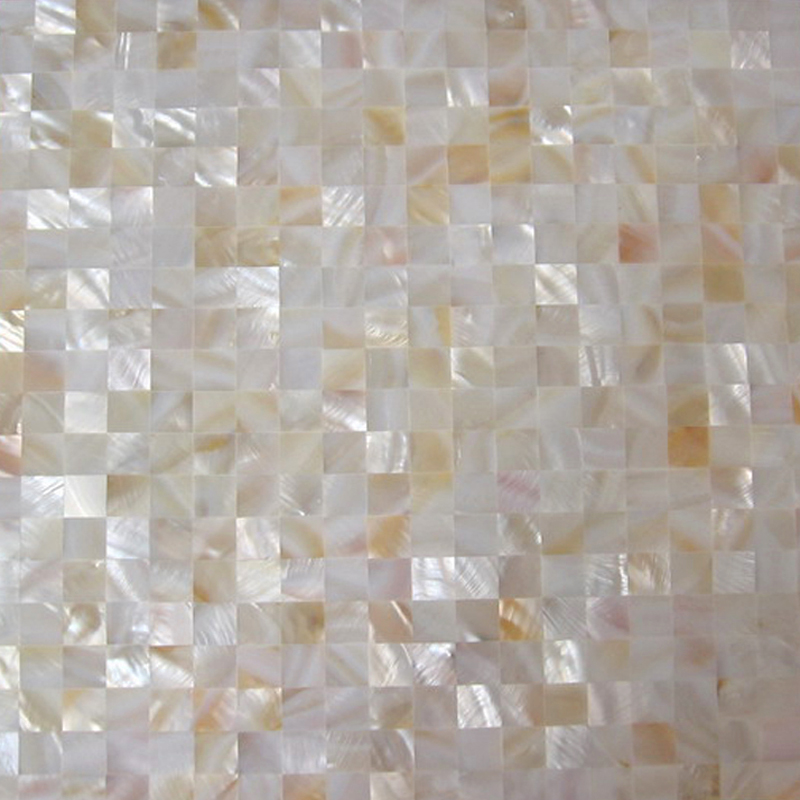 "River Shell Natural 15mm Squares Seamless Shell Mosaic Tile 11.8x11.8"", 1 tile"