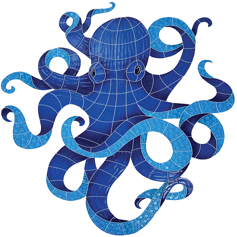 "Octopus Ceramic Mosaic Swimming Pool Mural 29"" x 36"", 1 mural"