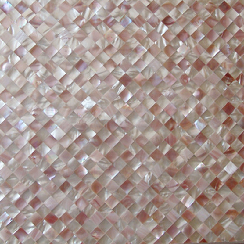 "Pink Mother of Pearl Diamond Seamless Shell Mosaic Tile 11.8x11.8"", 1 tile"