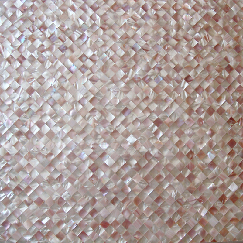 "Pink & White Mother of Pearl Diagonal Check Seamless Shell Mosaic Tile 11.8x11.8"", 1 tile"
