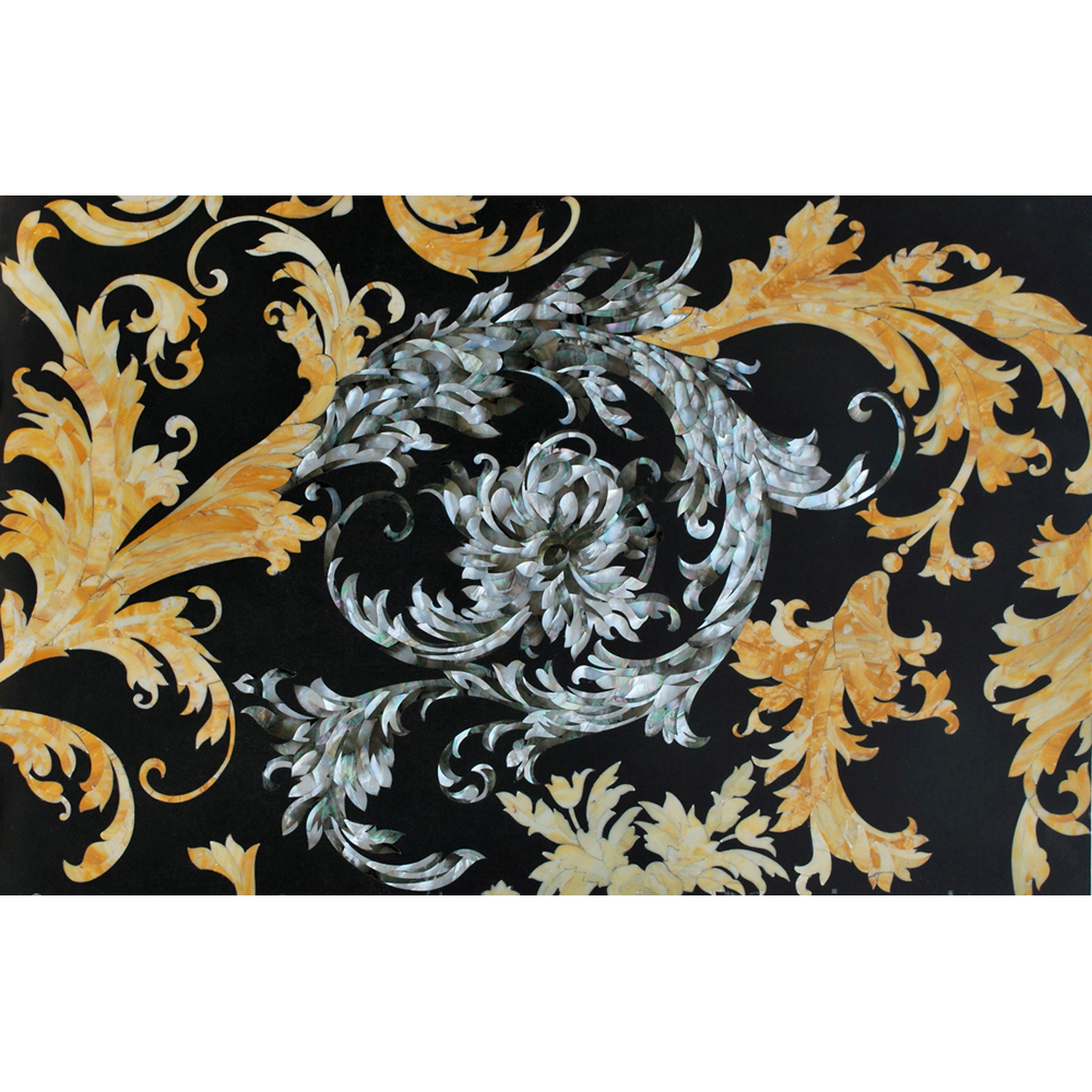 Valencia Inlay Black Mother of Pearl & Sienna Marble Panel 3x6', 1 piece