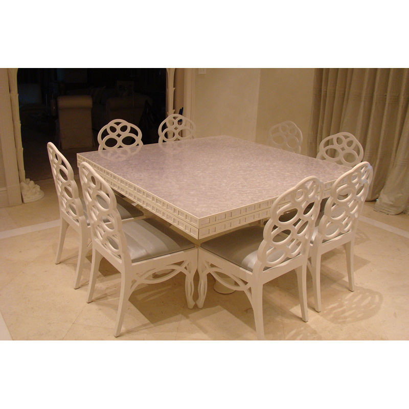Custom Capiz Dining Room Table with Folding Sides