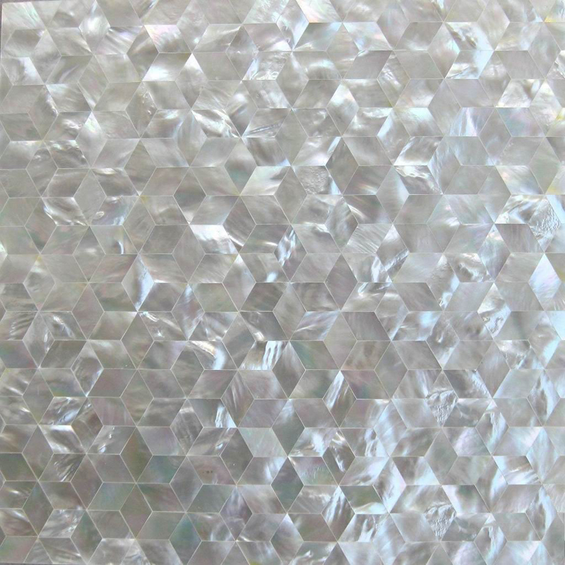 "White Mother of Pearl Star Seamless Shell Mosaic Tile 11.8x11.8"", 1 tile"