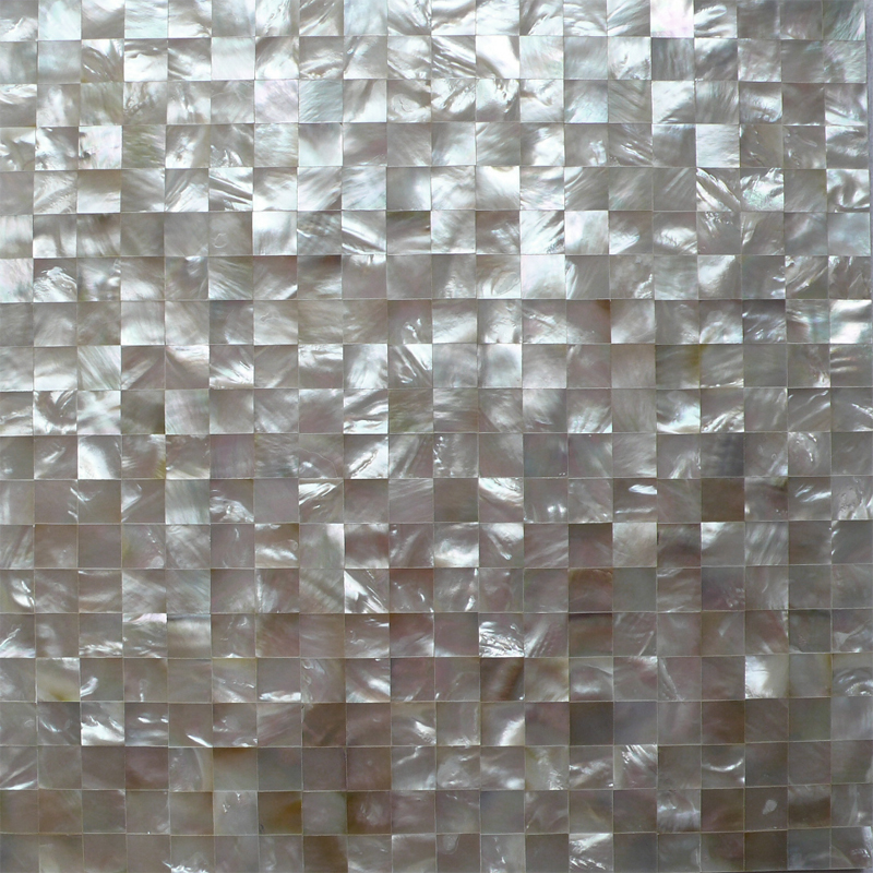 "White Mother of Pearl Squares 15mm Seamless Shell Mosaic Tile 11.8x11.8"", 1 tile"