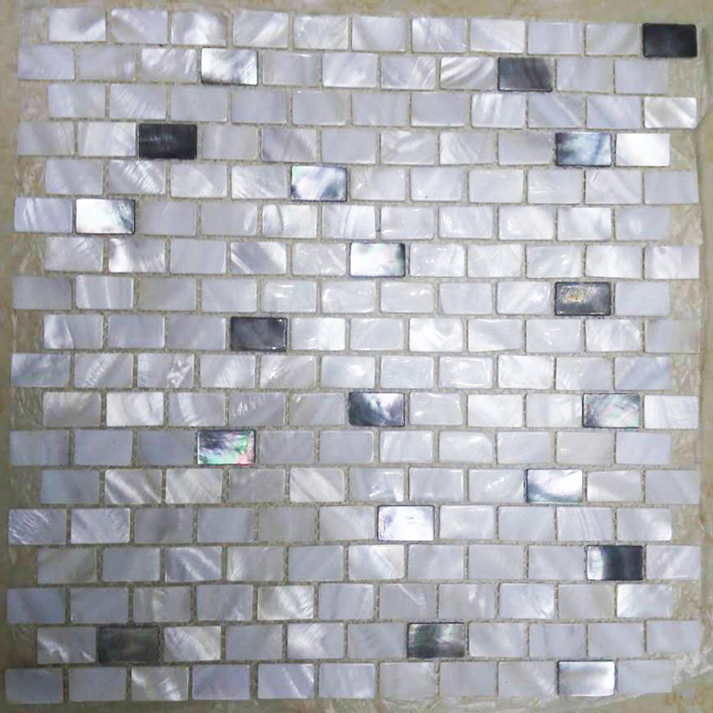 White River & 15% Black Mother of Pearl Brick Mosaic Sheet, 1 tile