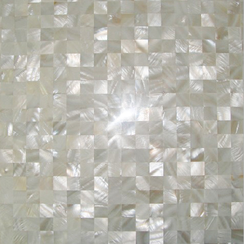 "River Shell White 15mm Squares Seamless Shell Mosaic Tile 11.8x11.8"", 1 tile"