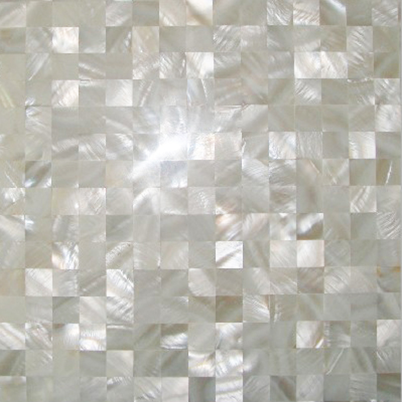 "River Shell White 20mm Squares Seamless Shell Mosaic Tile 11.8x11.8"", 1 tile"
