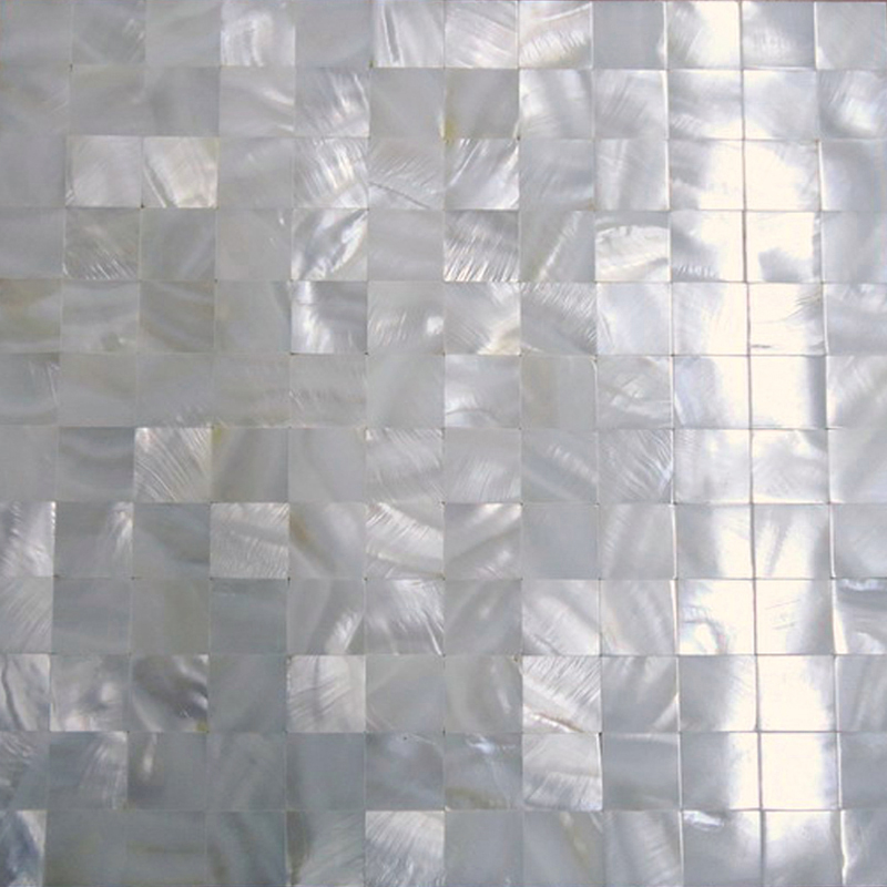 "River Shell White 25mm Squares Seamless Shell Mosaic Tile 11.8x11.8"", 1 tile"